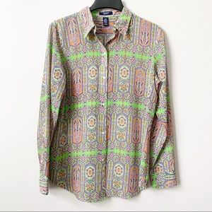 Chaps Multi Patterned Semi Sheer Button Down Top